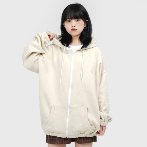 Rubber Logo every-day HOOD ZIP UP (Cream)