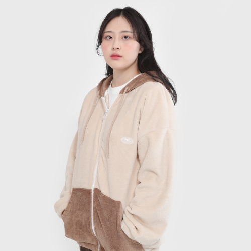 WAFFEN COLORED FURLESS HOODIE ZIP-UP [BEIGE]